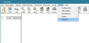 The SnapShot link in the Utilities menu of Lodgical Solution